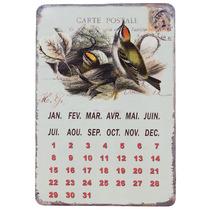 Placa Calendário Magnétic Em Metal Pássaros Oldway