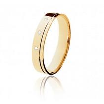 Aliança Confort Reta Lefine Ouro 18k Diamantes Frete Grátis