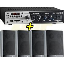 Kit Sonorização Ambiente Frahm Slim1000 + 4 Caixas Som Ps200