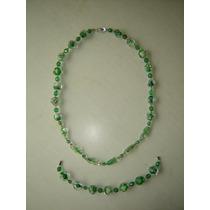 Elegantes Colar,pulseira Vintage Murano Italiano Verde Déc60
