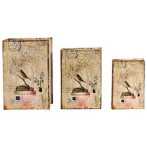Book Box Conjunto 3 Peças Seda Pássaro Gaiola Oldway