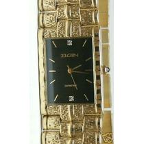 Relógio Elgin Two Diamond Gold-plated, Black Dial Watch
