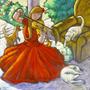 Pintura Tela Violinista Menina Quadro Abstrato Flores Rosas