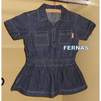 Linda Blusa Jeans Infantil Importada Com Botões E Franzido