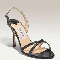 Sandalia Jimmy Choo India Sandal Black Glitter Salto Agulha