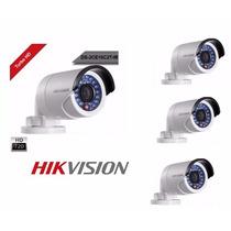 Kit 4 Câmeras Bullet Turbo Hd Hikvision Hd 720p Ir 20m 2,8mm