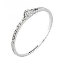 Anel De Noivado Solitário Ouro Branco Com Diamante Lefine