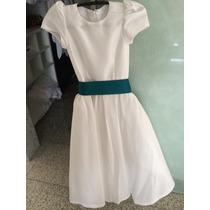 Vestido Pra Daminha(veste 7-9 Anos)tafeta,branco E Laco Verd