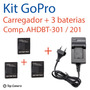 Carregador E 3 Baterias Hero 3+ Black White Silver Kit Gopro