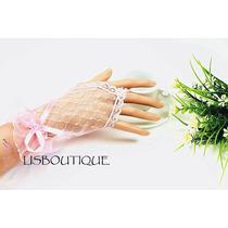 Luva Noiva - Debutante Mod 2 Rosa Rendada Pronta Entrega