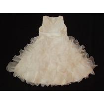 Vestido Infantil Festa Dama Batizado Florista Off White