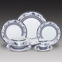 Jogo Jantar De Porcelana Regina Azul 42 Peças R 11028