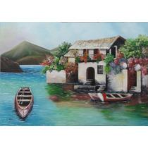 Pintura Óleo Sobre Tela-paisagem Casario(70x50cm)sem Moldura