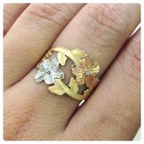 Anel Flores Ouro Amarelo Branco E Rosé Ouro 18k Brilhantes