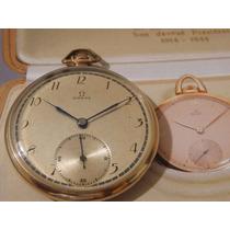 Relógio De Bolso Omega Perfeito Corrente Antigo P. Ouro