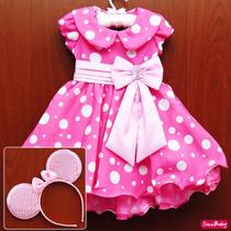 Vestido Festa Infantil Minnie Rosa Pink Luxo Com Tiara