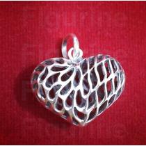 Pingente Coração Vazado 3d - Em Prata 925 - Com 5 Gramas!