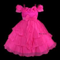 Vestido Infantil Princesa Flores Decote Pink, Branco, Lilas