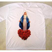 Camiseta Nossa Senhora Das Graças Com Rosas Maria Católica
