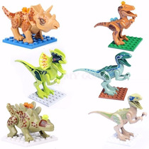 6 Dinosjurassic World Bonecos = Lego Kit 6 Dinossauros Bloco