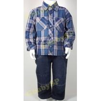 Conjunto Infantil Menino Camisa Xadrez Calça Jeans Criança