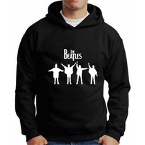 Moletom The Beatles Com Capuz E Bolso Lateral Blusa Bandas