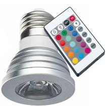Lâmpada Rgb Led Spot E27 3w Bivolt 16 Cores Controle Remoto