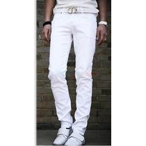 Calça Jeans Masculina Sarja Skinny Branca Pronta Entrega