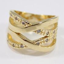 Ãnel Duplo Feminino Com Zircônias Banhado Em Ouro 18k+luxo