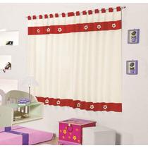 Cortina Infantil Diana Vermelho 3mx2,2m - Varão Simples