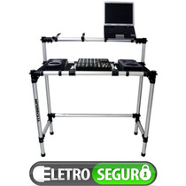 Mesa Dj Tubular Desmontavel Pra Kits Cdjs + Mixer + Notebook