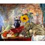 Mesa Flores Vegetais Girassol Pintor James Ensor Tela Repro