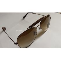 Óculos Ray Ban Modelo Aviador Marrom Lente Marrom Degradê
