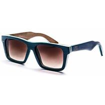 Abaixou! Óculos De Sol Yeva - Madeira - Azul - Polarizado