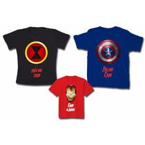 Kit Família Camisetas Personalizadas Vingadores C/ 3, Heróis