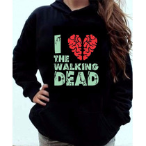Moletom I Love The Walking Dead Blusa Canguru Com Capuz