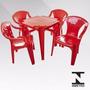 Jogo De Mesa Com 4 Cadeiras Vermelhas Plástico Empilháveis
