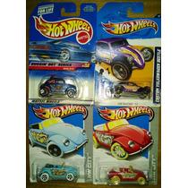 Hot Wheels Fuscas - Kit 4 Beetles Baja Bug Custom Volkswagen