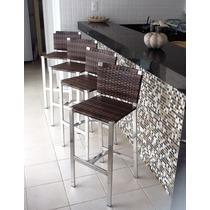 Banqueta Malibu Aluminio Com Fibra Sintética - Novo