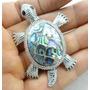 Pingente 17,3gr Tartaruga Em Metal Com Abalone Lindo - J1509