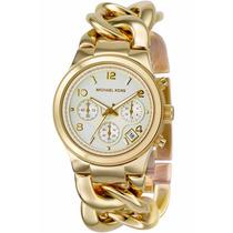 Relógio Michael Kors Mk3131 Corrente Dourado Caixa E Manual.