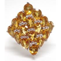 Joalheriavip Anel Pavê De Citrinos Prata 925 Folheado Ouro