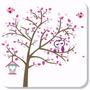 Árvore Adesivo Recortado Coruja Corujas E Pássaros + Casinha