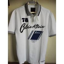 Camisa Polo Calvin Klein Masculina Branca Com Cinza Tm G