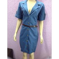 Vestido Sarja Plus Size De Botões Malwee