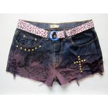 Short Jeans Feminino 44 Artesanal Destroyed Tingido