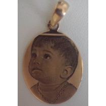 Medalha Com Foto Personalizada Em Ouro 18k 750