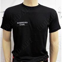 Camiseta Preta Bombeiro Civil Modelo Novo