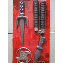 Fantasia Armas Ninja Dragão Vermelho Nunchaku Punhal Seta
