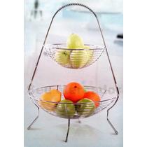 Fruteira De Mesa Em Aço Inox Cromado Para Fruta Maçã Cozinha